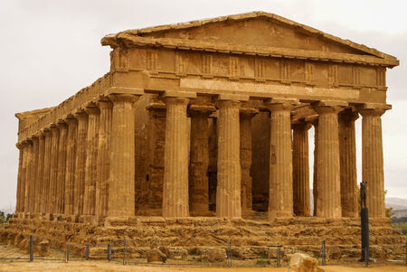 The ruins of Temple of Concordia, Valey of temples, Agrigento, Sicily, Italy photo