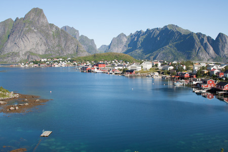 Scenic town of Reine on Lofoten islands in Norway photo