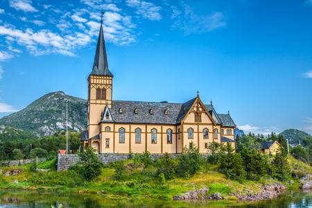 Picturesque Lofoten cathedral on Lofoten islands in Norway photo