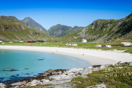 Beautiful view to Eggum beach in Norway, Lofoten islands photo