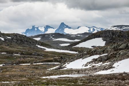 jotunheimen national park: Veobrean glacier seen from Glittertind mountain (Jotunheimen National Park, Norway) Stock Photo