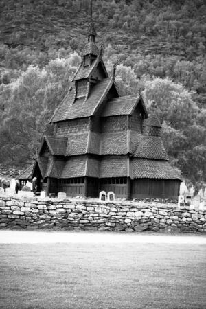 Borgund Stave church. Built in 1180 to 1250, and dedicated to the Apostle St. Andrew Stock Photo