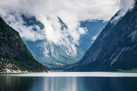 Sognefjord view on a cloudy day, Norway photo