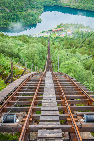 Old abandoned train on the way to Trolltunga, Norway photo