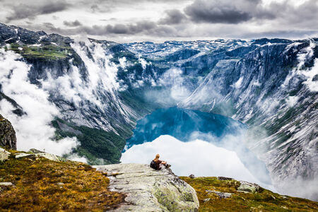 Beautiful norwegian landscape with mountains on the the way to trolltunga photo