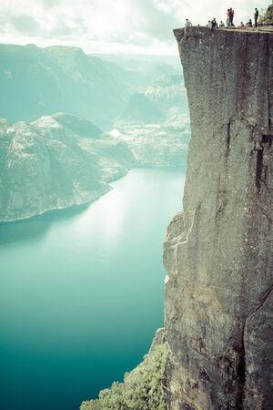 Preikestolen,Pulpit Rock at Lysefjorden (Norway). A well known tourist attraction