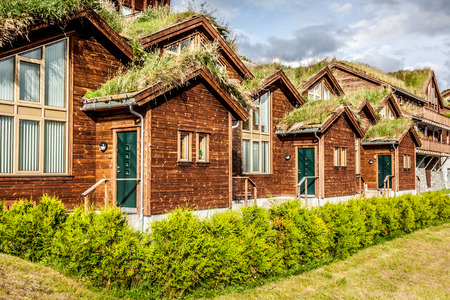 barrack: Typical norwegian house with grass on the roof Stock Photo