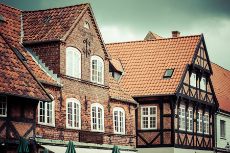 traditional house: half timbered traditional house in ribe denmark