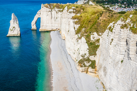 The famous cliffs at Etretat in Normandy, France photo
