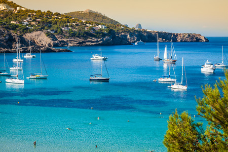 balearic: Cala Tarida in Ibiza beach San Jose at Balearic Islands