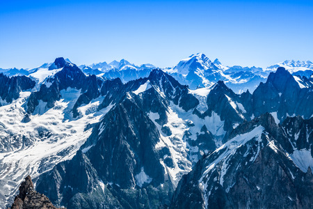 Mont Blanc mountain massif summer landscape(view from Aiguille du Midi Mount, French ) 版權商用圖片