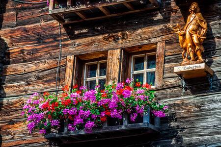 wooden houses in Fiesch - Switzerland