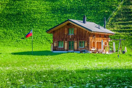 Wooden houses in Steg, Malbun, in Lichtenstein, Europe