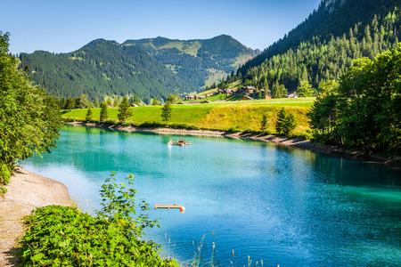 beautiful view mountain lake. Steg,Malbun in Lichtenstein, Europe photo