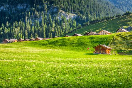 socle: Wooden houses in Steg, Malbun, in Lichtenstein, Europe