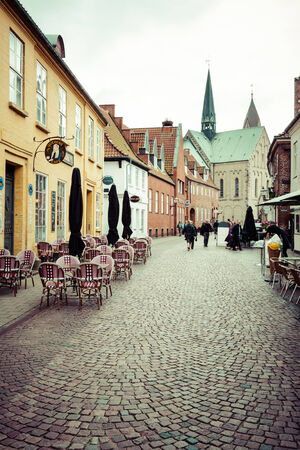 residential idyll: Empty morning street with old houses from royal town Ribe in Denmark 19TH MARCH 2013 Editorial