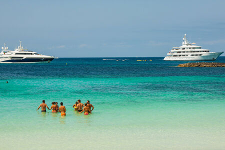 Luxury yacht in turquoise beach of Formentera Illetes  AUGUST 21,2013