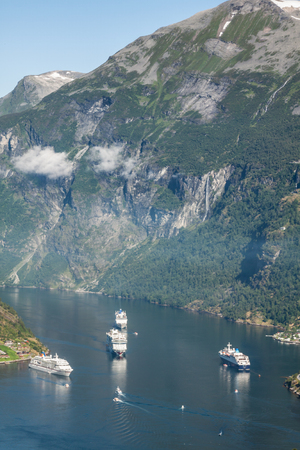 Cruise ship in Geiranger fjord, Norway  August 5, 2012