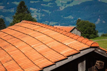 socle: Wooden houses in Malbun in Lichtenstein, Europe