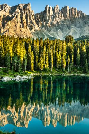 Carezza lake, Val di fassa, Dolomites, Alps, Italy photo