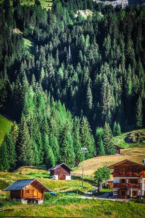 Typical Home of Dolomites - Italian Mountains - Europe photo