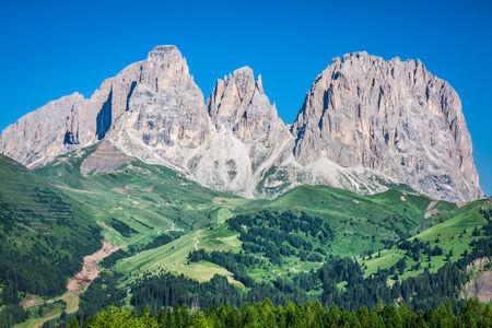 Sass Pordoi south face (2952 m) in Gruppo del Sella, Dolomites mountains in Alps photo