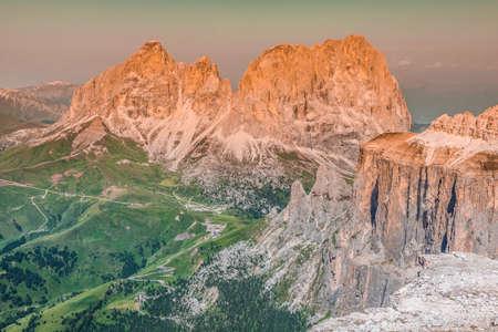 View to Punta Grohmann, Cinquue Dita, Sasso Lungo, Piz Ciavaces from Sass Pordoi, Dolomiten, Italia, Europe photo