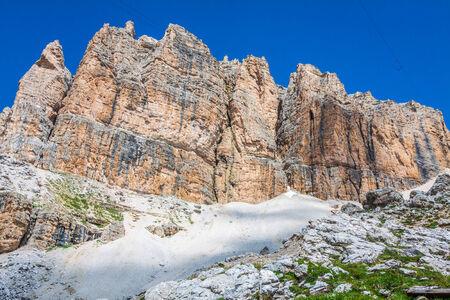 torri: Sass Pordoi south face (2952 m) in Gruppo del Sella, Dolomites mountains in Alps