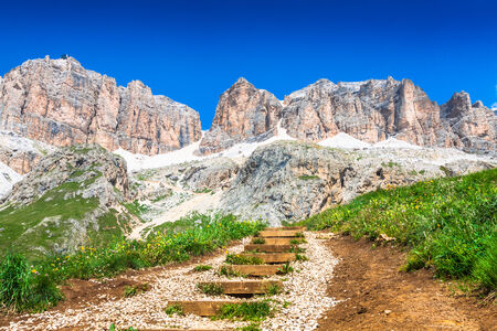 Panorama of Sella mountain range from Sella pass, Dolomites, Italy photo