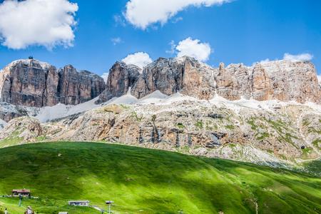 sella: Panorama of Sella mountain range from Sella pass, Dolomites, Italy