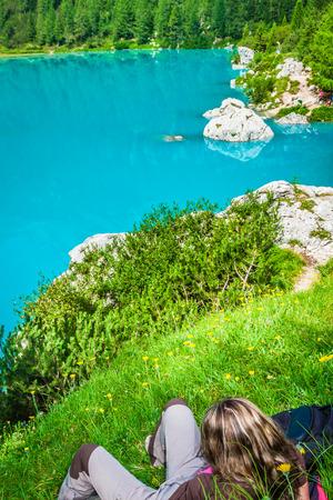 rapidity: Alpin lake Sorapis - Italian Dolomites stunning landscape. Stock Photo