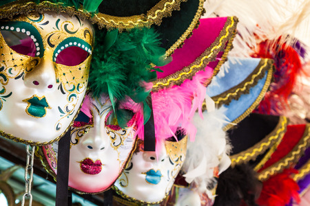 Carnival masks of the world most famous grand canal venice historical center photo