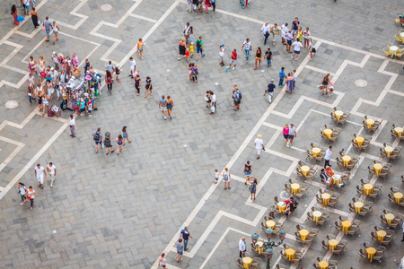 umbrela: Venice, Italy,August 9, 2013:Saint Mark square (piazza) from the Venice tower Editorial