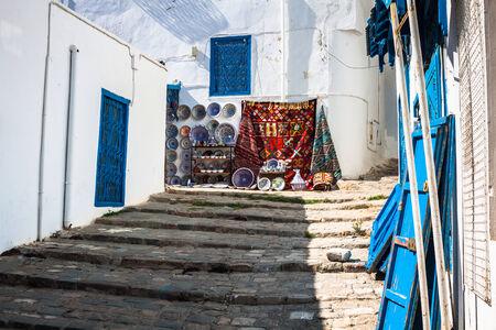 Street in the town of Sidi Bou Said, Tunisia photo
