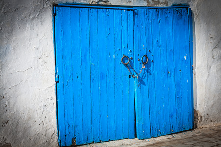 Typical local door of traditional home; Tunis; Tunisia photo