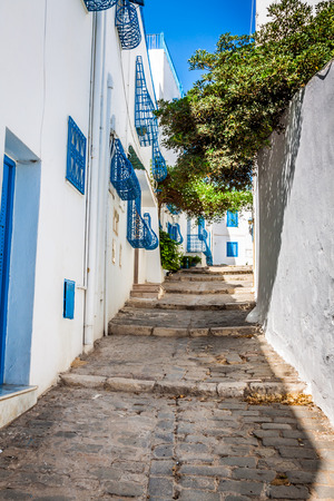 Sidi Bou Said - typical building with white walls, blue doors and windows, Tunisia photo