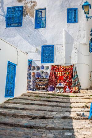 sidi bou said: Street in the town of Sidi Bou Said, Tunisia Stock Photo