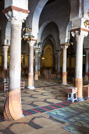 kairouan: Main prayer room in The Great Mosque of Kairouan, also known as the Mosque of Sidi-Uqba