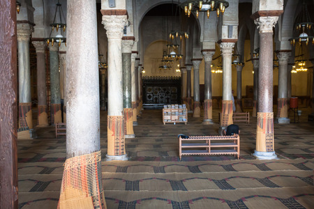 Main prayer room in The Great Mosque of Kairouan, also known as the Mosque of Sidi-Uqba