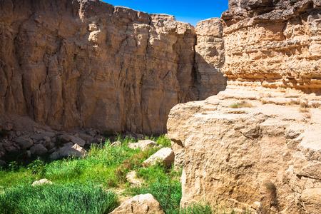 mountain oasis: Mountain oasis Tamerza in Tunisia near the border with Algeria. Stock Photo