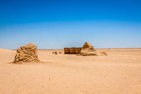 north star: Set for the Star Wars movie still stands in the Tunisian desert near Tozeur. Stock Photo
