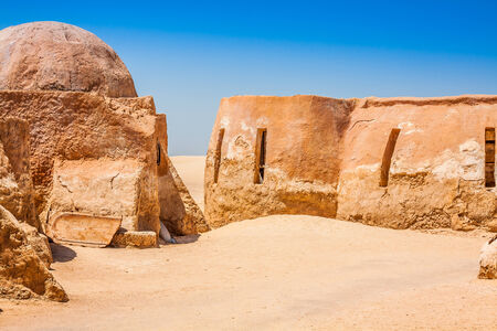 star wars: Set for the Star Wars movie still stands in the Tunisian desert near Tozeur. Stock Photo