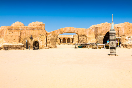 blue stars: Set for the Star Wars movie still stands in the Tunisian desert near Tozeur. Stock Photo