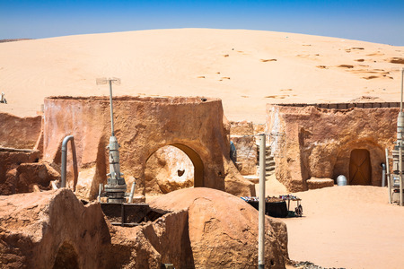 star wars: Buildings in Ong Jemel, Tunisia. Ong Jemel is a place near Tozeur, where the movies Star wars Stock Photo