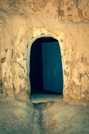 matmata: Cave house in matmata,Tunisia in the sahara desert Stock Photo