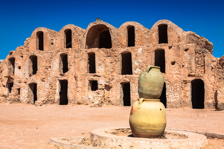 Tunisia. Medenine. Fragment of old Ksar located inside village. There were formerly fortified granaries (Ghorfas) photo
