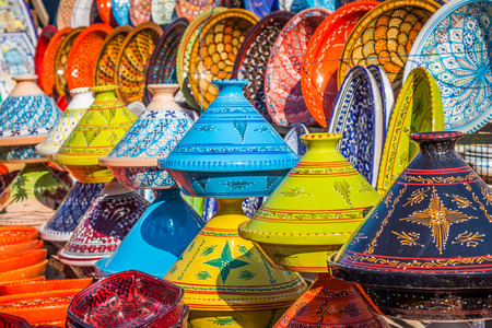 arabic: Tajines in the market, Marrakesh,Morocco