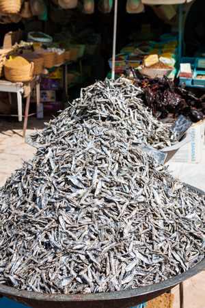 boned: Dry fish in the market in Tunisia