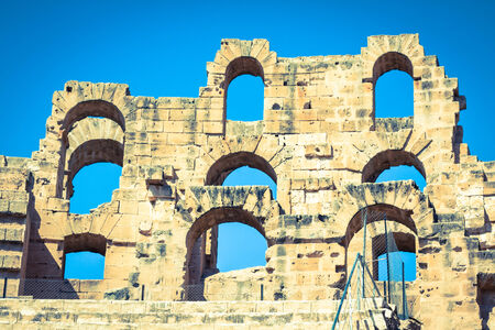 Ruins of the largest colosseum in in North Africa. El Jem,Tunisia.  photo