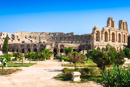 Tunisia. El Jem (ancient Thysdrus). Ruins of the largest colosseum in North Africa photo
